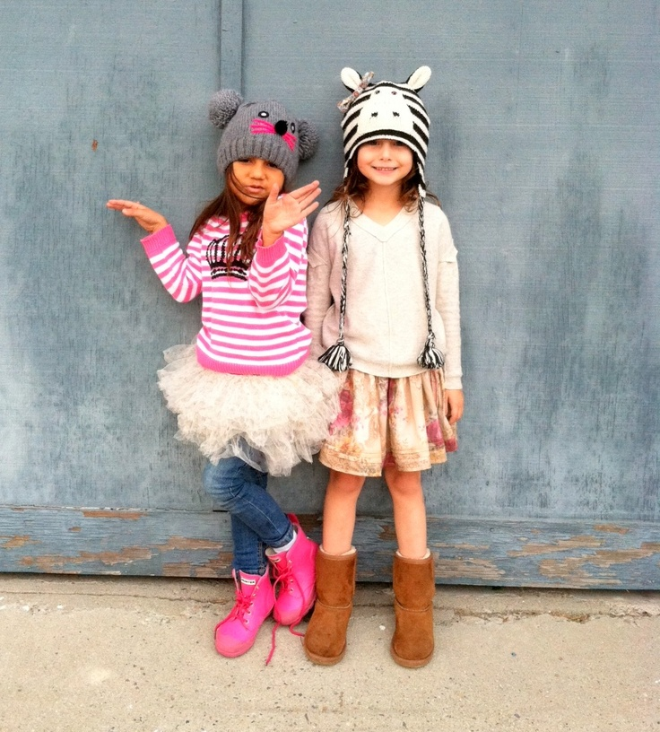 sisters in critter beanies.