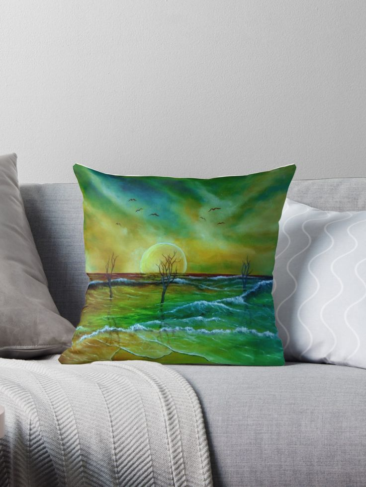 coastal, theme, decor, ideas, waves, sunset, seascape, sky, trees, nature, landscape, fantasy, impresseive, colorful, green, golden, blue, for sale, artistic, Throw Pillow