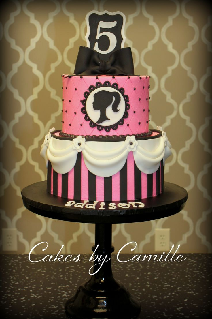 Classy vintage barbie silhouette in hot pink and black ...