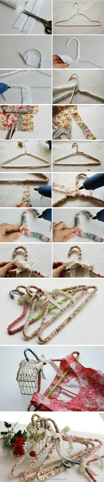 using Fabric Scraps to cover Cloth Hangers - My mom needs to do this to all of her thousands of awful wire hamgers!!! :o)