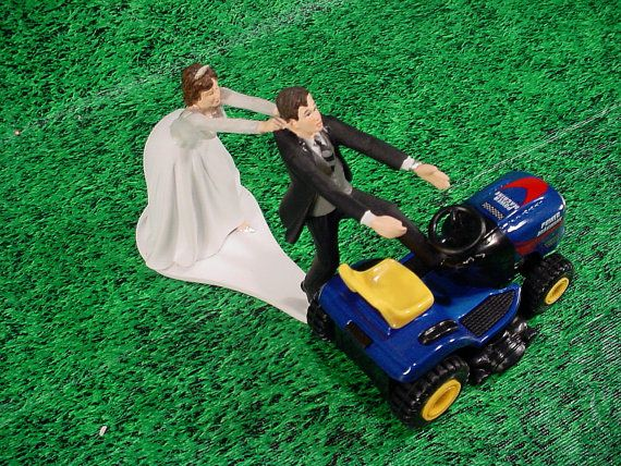 blue tractor wedding cake topper no lawn grass cutting blue lawn tractor custom by 12009