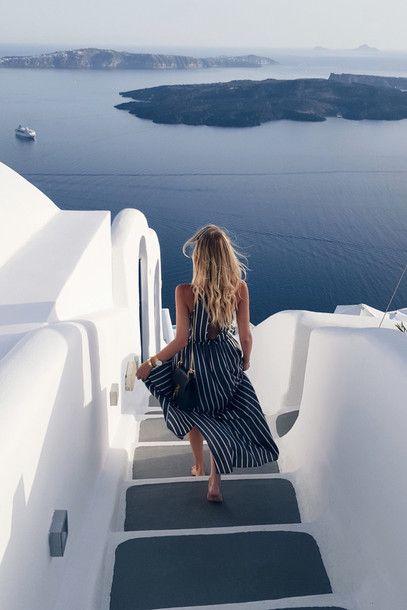 Blouse: ohh couture, blogger, travel, summer, summer holidays, stripes, striped dress, ysl bag, summer dress - Wheretoget
