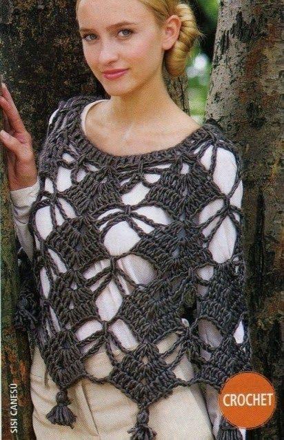 Grace y todo en Crochet: Poncho con aguja #8....Poncho needle # 8 ....