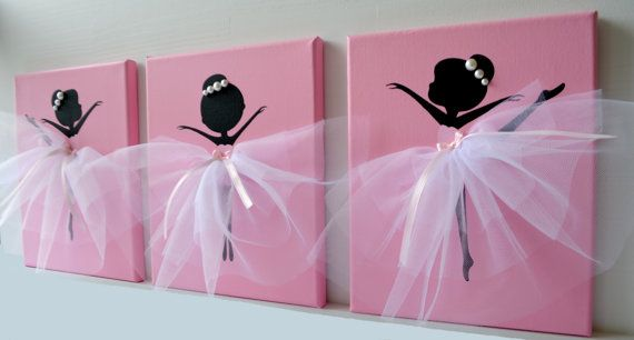 Three 8x10 canvases with dancing ballerinas. Canvas background and ballerina silhouettes are painted with acrylic paint. Dancers are decorated with