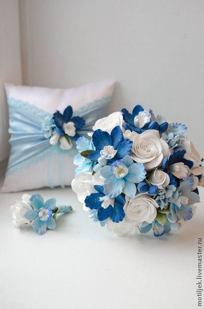"""Комплект для свадьбы """"Голубые орхидеи"""". Handmade."""