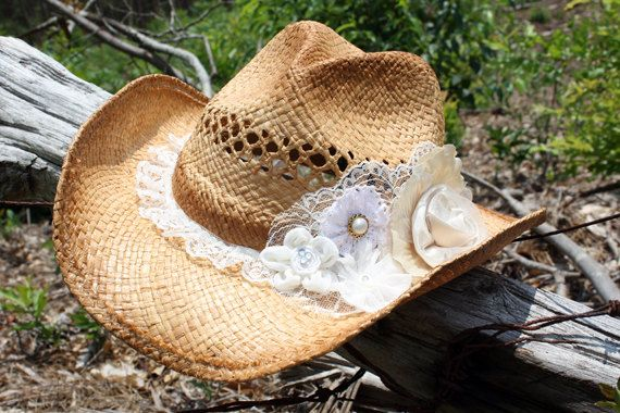 Fun and Flirty Embellished Western Cowgirl / Cowboy Hat with Flowers, Lace, and Jewels