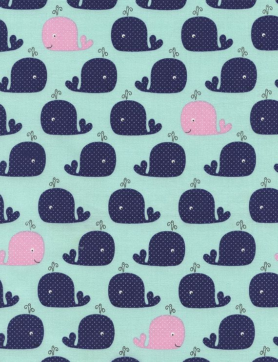 Whale fabric whales in mint by timeless treasures 1 2 for Whale fabric