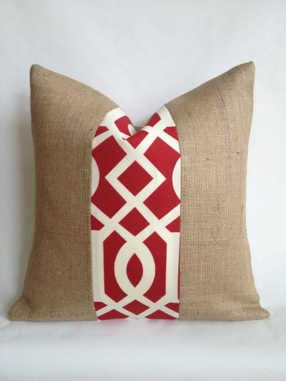 Red Gate Indoor/Outdoor Fabric and Burlap Pillow by BouteilleChic, $21.00