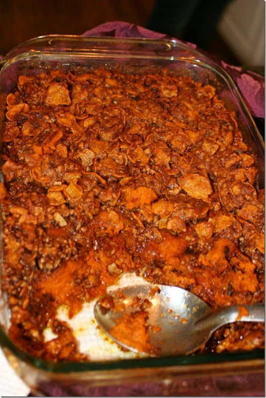 Sweet Potato Casserole topped with corn flakes & pecans