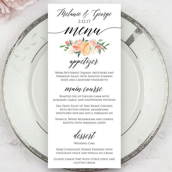 Wedding menus printed menus menu cards dinner menus for Menu reception amis
