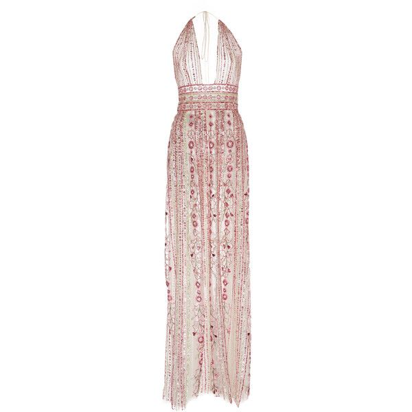 Embellished Halter Gown | Moda Operandi ($11,410) ❤ liked on Polyvore featuring dresses, gowns, floral evening dresses, pink ball gown, floral gown, halter dresses and pink floral dress