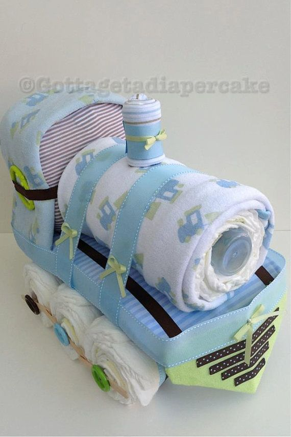 Brown and green diaper train, diaper cake. center piece, train, boys diaper cake on Etsy, $109.32