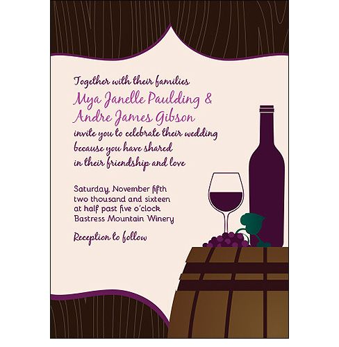 Wine Barrel Winery Wedding Invitations For A Vineyard, Barrel Room Or Wine Themed  Wedding