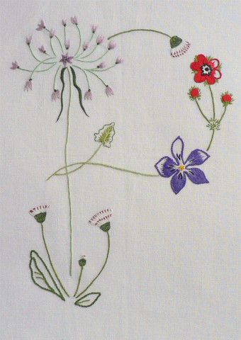 Field flowers alphabet - P
