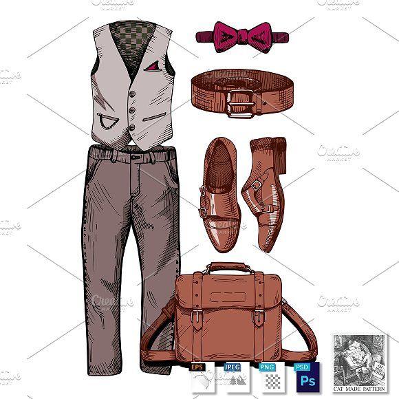 Set of stylish men's clothing by CatMadePattern on @creativemarket