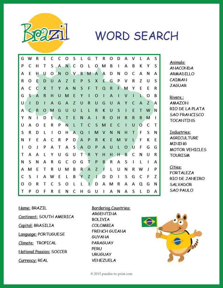 A word search puzzle featuring geographical features and interesting facts about Brazil. Puzzlers will be learning about this important country while they are searching for the words. There are 32 to in all to find: be sure to look in all directions!