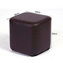 UUSSHOP Square Wooden Upholstered Footstool Footrest Ottoman Pouffe Chair Foot Stool Cube Seat with PU Leather Cover ( Brown )