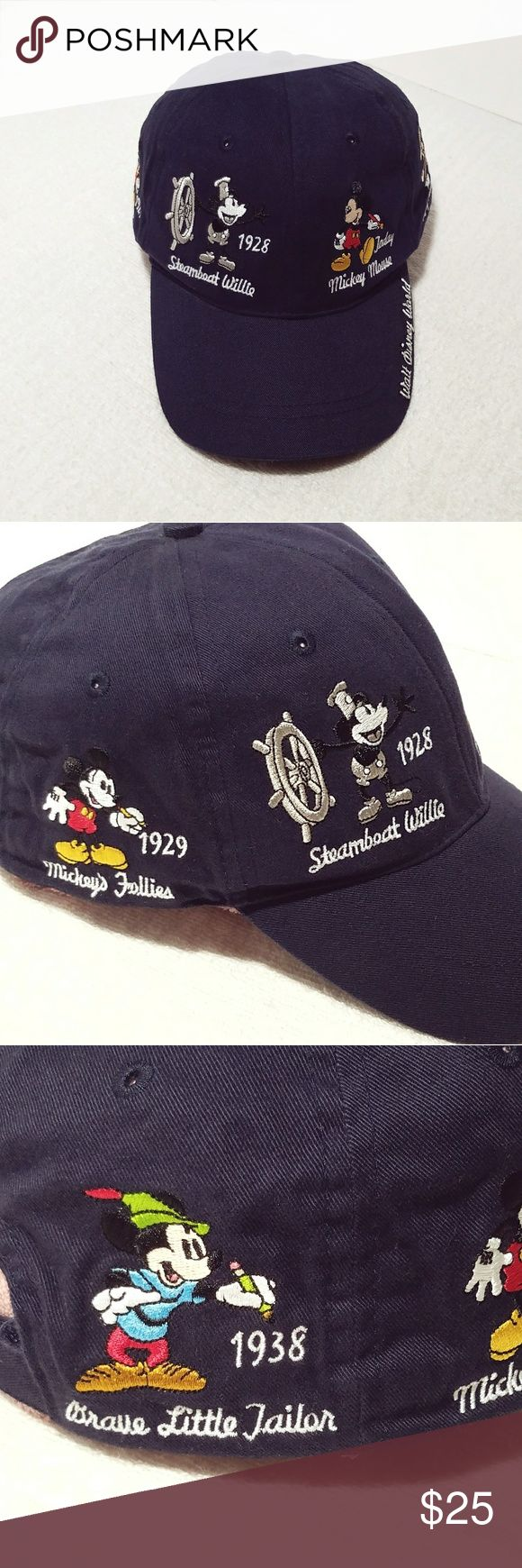 Mickey Mouse Walt Disney World Baseball Cap Vintage Mickey Mouse Walt Disney World Baseball Adjustable Strapback Cap. That is beat up, but no major damage, very clean, no stains, no rips, no tears. This navy blue adjustable baseball cap material is 100% cotton the art on his baseball cap is very bright and looks new. The hat is beat up a bit but will shape up once on your head. This vintage collectible hat is very clean and recommended for adult handling only. Disney Accessories Hats