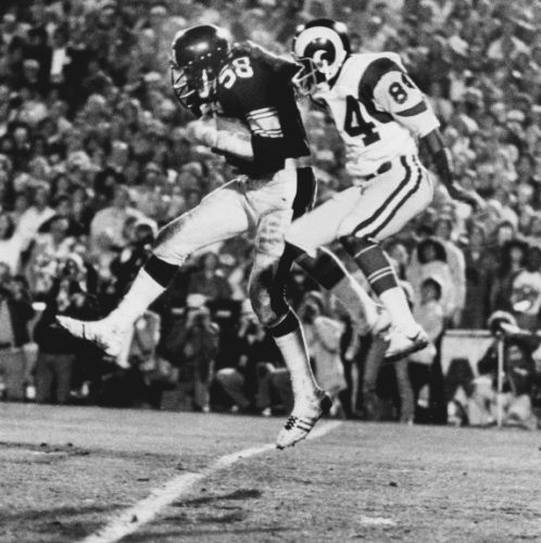 SUPER BOWL XIV: Steelers 31, Rams 19 | The Pittsburgh Steelers repeat as Super Bowl champs for the second time in the team's history as they come back from a three-point halftime deficit to dominate the Rams in their own backyard - the Rose Bowl - on Jan. 20, 1980. The Steelers become the first team to win four Super Bowls, once again thanks to their quarterback. Bradshaw wins his second straight Super Bowl MVP award with a 14 of 21 passing day, including 309 yards and two touchdowns. ...