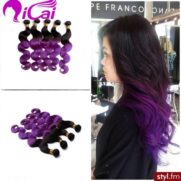(135.90$)  Watch now  - Ombre 2 Tone 1B/Purple Hair Weaves Brazilian Virgin Remy Human Hair Extensions 4 Bundles Body Wave Ombre Purple Hair Weaving