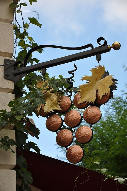 *Wine Shop Sign; Would love to use this grape sign as a foundation for our house numbers.