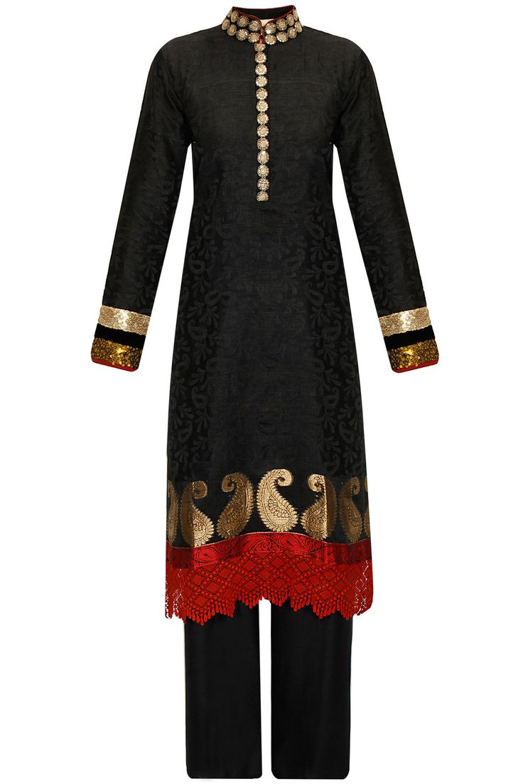 Black embroidered kurta with linen pants by Vikram Phadnis. Shop at: http://www.perniaspopupshop.com/designers/vikram-phadnis #kurta #shibori #pants #vikramphadnis #shopnow #perniaspopupshop