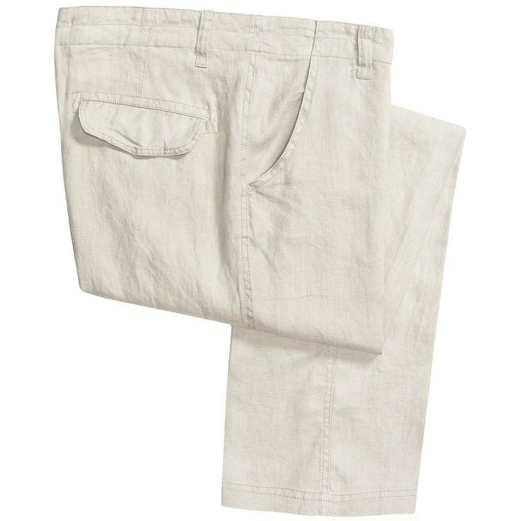 kaki linen pants for men | Martin Gordon Linen Pants - Flat Front (For Men) in White