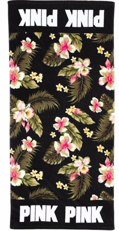 NEW Victorias Secret PINK Black Floral Flower Beach Swim Pool Towel Tropical HTF - http://home-garden.goshoppins.com/bath-products/new-victorias-secret-pink-black-floral-flower-beach-swim-pool-towel-tropical-htf/