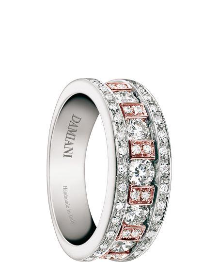 Damiani gioielli Belle Epoque anello in oro bianco e rosa con diamanti (ct 0.79)