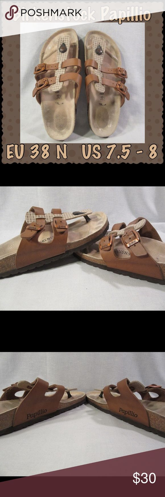 Birkenstock PAPILLIO Thong Sandals EU 38N US 7.5-8 Birkenstock PAPILLIO Adjustable 2 Strap Thong Sandals Cream/Tan & Copper/Brown EU 38N US 7.5-8. Closed Footprint. I believe they are the Birko-flor upper that feels like soft leather.  Straps have copper-tone buckles. Only worn a half-dozen times, indoors at work & to and from my car. Too narrow for me. Some staining on the footbed. Heels and big toes are a little bit broken in. The copper-tone finish on buckles appear to be a…
