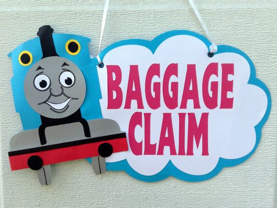 Thomas the Train/ tank engine birthday baggage claim favor sign. on Etsy, $15.00