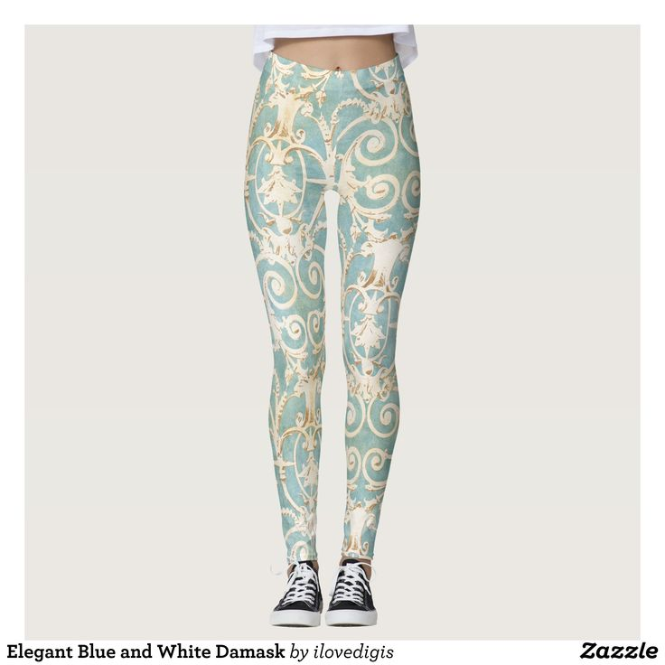 Elegant Blue and White Damask Leggings : Beautiful #Yoga Pants - #Exercise Leggings and #Running Tights - Health and Training Inspiration - Clothing for #Fitspiration and #Fitspo - #Fitness and #Gym #Inspo - #Motivational #Workout Clothes - Style AND comfort can both be achieved in one perfect pair of unique and creative yoga leggings - workout and exercise pants - and running tights - Each pair of leggings is printed before being sewn allowing for fun designs on every square inch - Medium…