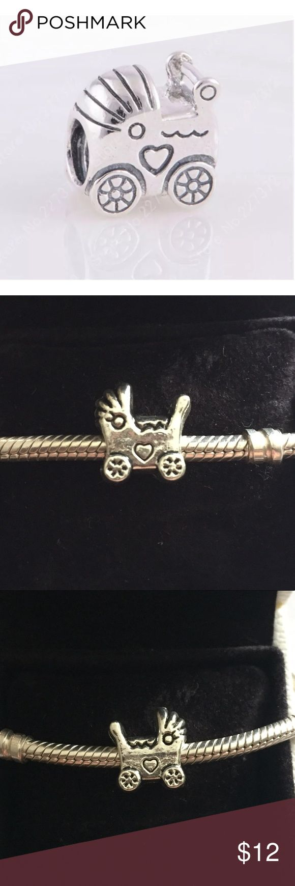 New Baby Stroller Carriage Charm Bead in Tibetan Brand new! Baby Carriage Stroller charm. Charm itself is not Pandora but custom made to fit Pandora specifically. High quality made still with Tibetan Silver!! 😀😀 Built To Last!! Please see other charms available for sale to bundle and save big Pandora Jewelry Bracelets