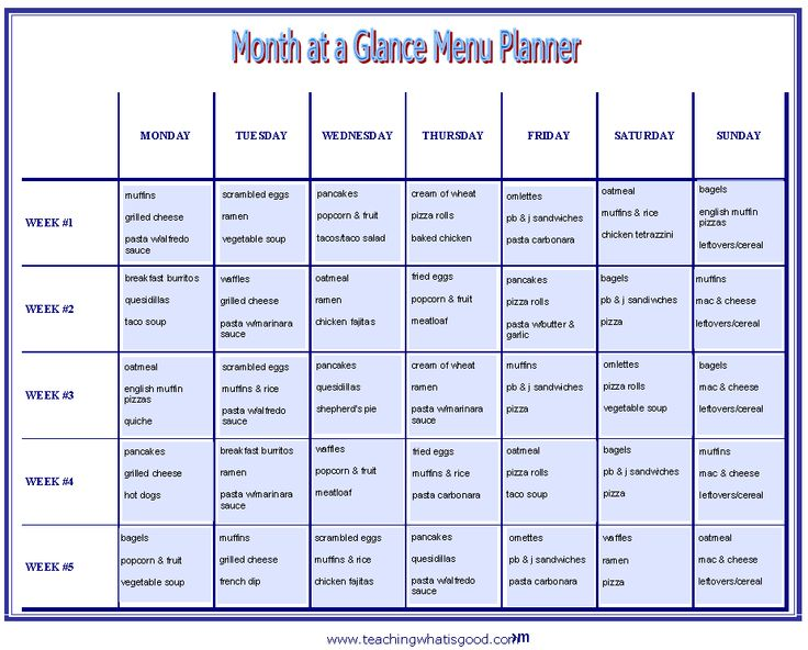 The  Best Monthly Menu Planner Ideas On   Menu
