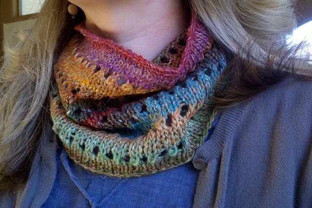 """Favorite Cowl."" Looks nice and cozy. I made this one up in a Noro Kureyon yarn on a trip. Super easy, super fast, super warm n' perdy."