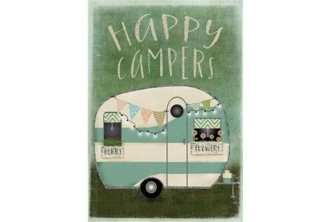"Love!  This vintage camper flag is the ultimate for our Glampers!  Currently only available in a large house size.  ​Measures approx. 28"" x 40"""