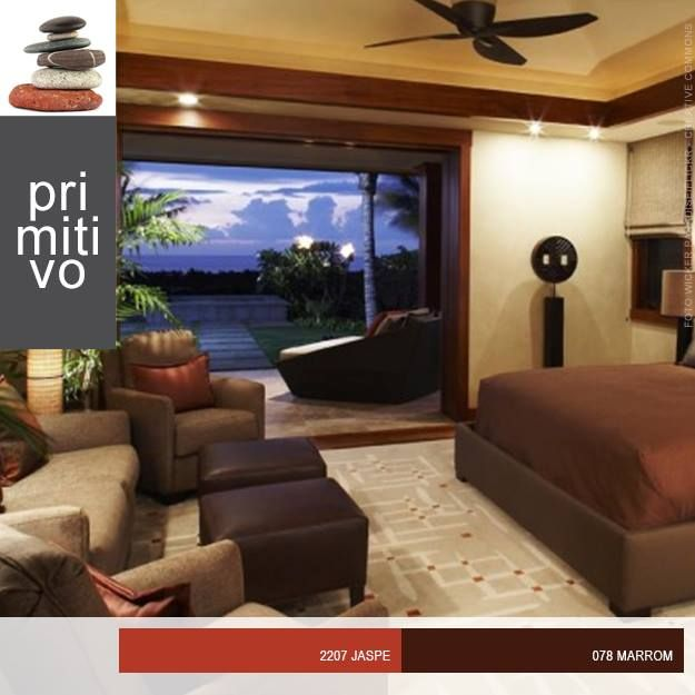 As cores quentes inspiradas nas riquezas naturais criam uma atmosfera sofisticada no seu quarto.