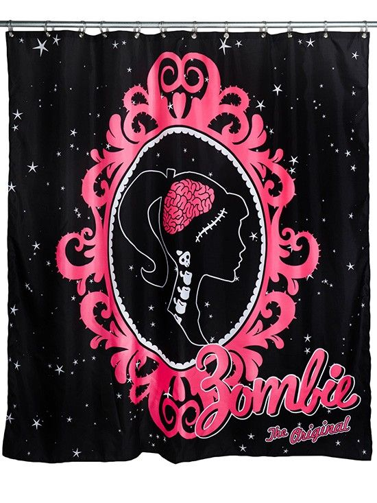 """Barbzie Cameo"" Shower Curtain by Too Fast (Black/Pink)"