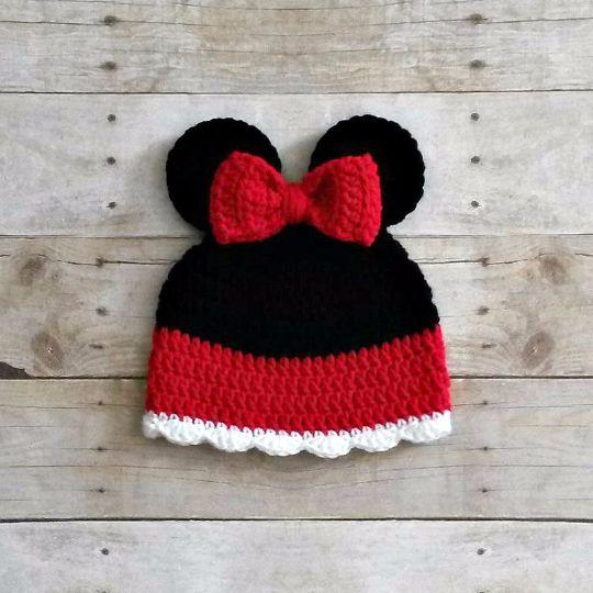 Crochet Baby Minnie Mouse Inspired Beanie Hat Newborn Toddler Child Photo Photography Prop Handmade Baby Shower Gift Girl