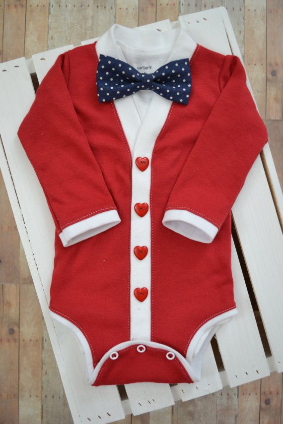 Valentine's Day Preppy Baby Cardigan and Bow Tie por TheHumbleLemon