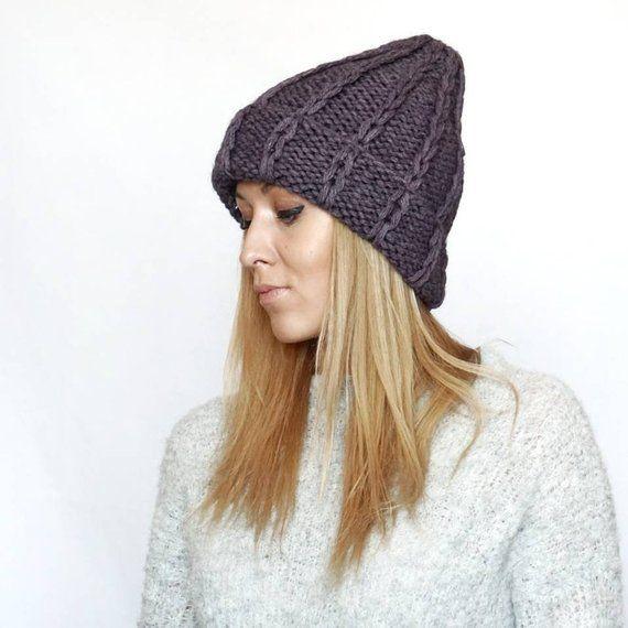 22b5d55652f41 Alpaca dusty purple soft beanie knitwear hat for woman man unisex trendy cap  warm winter