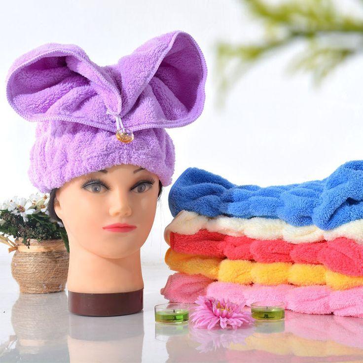 Супер Удобная утолщение плюшевые супер абсорбент сухие волосы крышка коралловых бархатной кроличьи уши впитывающее полотенце сухие волосы шапочка для душа A2