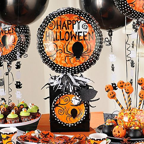 zigzags polka dots and stripes cover modern halloween supplies including tableware decorations balloons and more