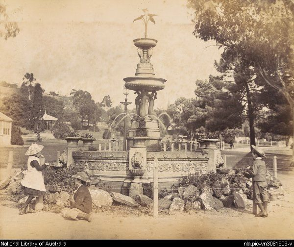Fountain in City Park,Launceston, Tasmania in the 1880s.Photo from National Library of Australia.A♥W