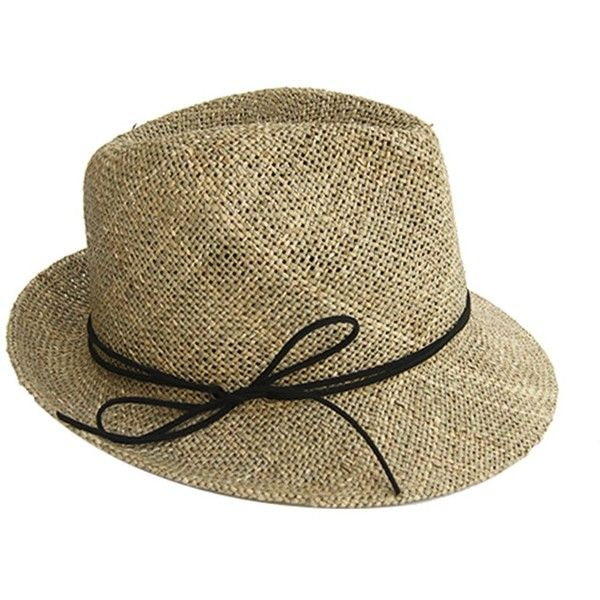 Justine Hats Classic Straw Fedora Hat ($80) ❤ liked on Polyvore featuring accessories, hats, beige, straw hat, straw fedora, brim straw hat, beige hat and fedora hat