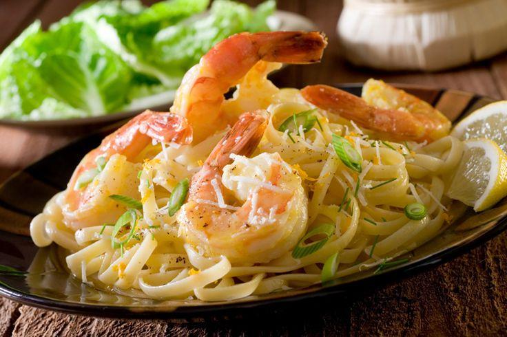 Linguines aux crevettes, sauce à la crème d'ail | .recettes.qc.ca