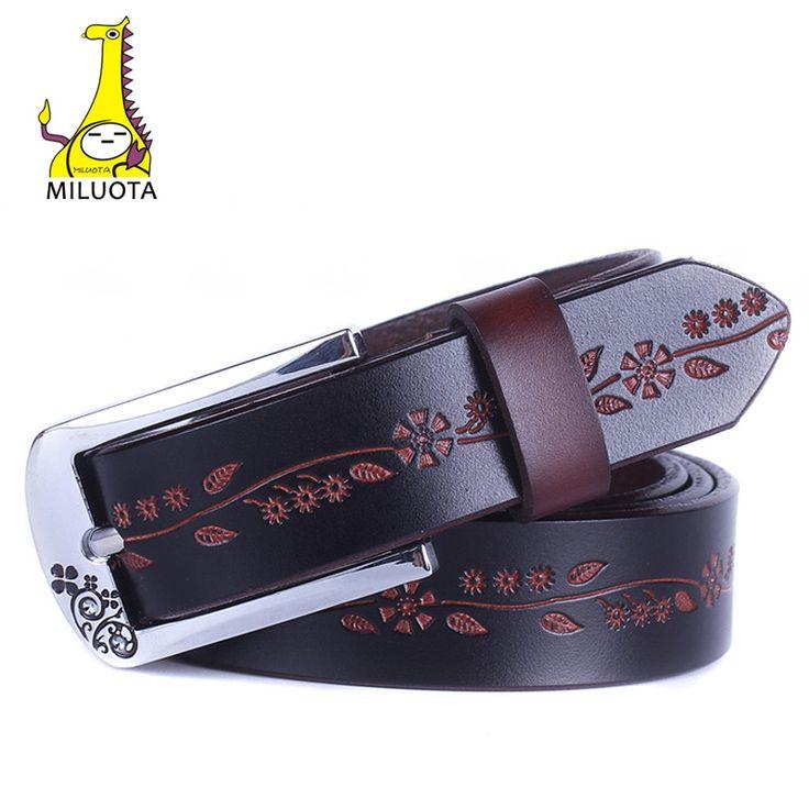 [ MILUOTA ] 2014 ремень женский мода 100% натуральная кожа ремни женские металлической пряжкой кожаные ремни для женщин DE041 купить на AliExpress