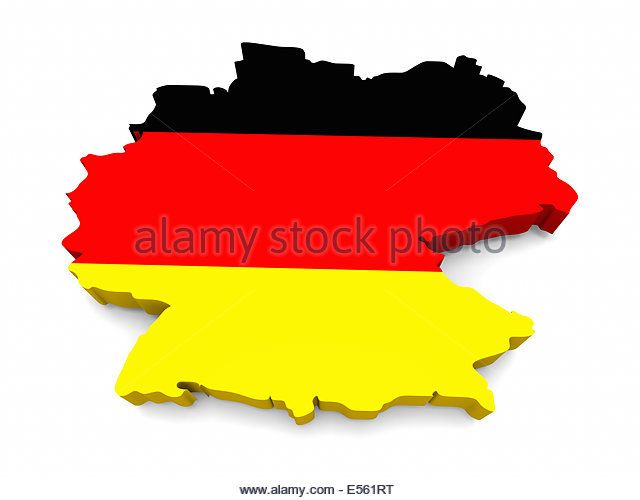 German flag in the shape of the country, isolated on white background - Stock Image