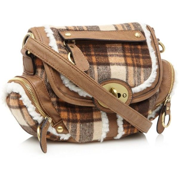 Orange Checked Faux Fur Trimmed Across Body Bag ($19) ❤ liked on Polyvore featuring bags, handbags, shoulder bags, purses, orange crossbody purse, brown shoulder bag, brown crossbody, purse shoulder bag and hand bags