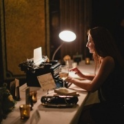 Old Hollywood Glamour Wedding - typewriter letters to the bride and groom.